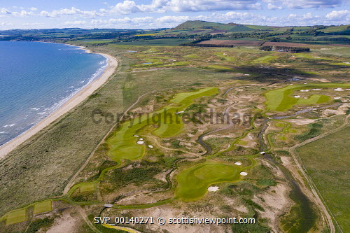Aerial view of new Dumbarnie Links golf course on Firth of Forth in Fife. The new golf course was scheduled to open on May 16 but  date was cancelled due to the Covid-19 lockdown Dumbarnie links,new golf course,Dumbarnie golf course,fife,Scotland,scottish golf course,aerial view,drone image,from above,covid-19 lockdown,coronavirus,pandemic,links golf course,east neuk fife,nobody,UK,United kingdom,britain,british,seaside,coast,coastal,sport,recreation,outdoor,courses,scottish golf courses