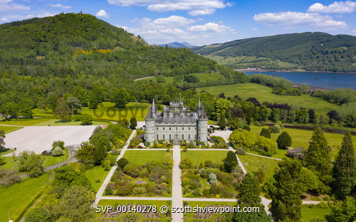 Aerial view of Inveraray Castle in Argyll and Bute, Scotland, UK Inveraray castle,Inveraray,Argyll and Bute,Argyll & Bute,aerial view,drone image,daytime,from above,Scotland,Scottish Castle,Uk,United kingdom,Britain,british,castles,scottish culture,scottish heritage,travel,tourism,tourist attraction,destination
