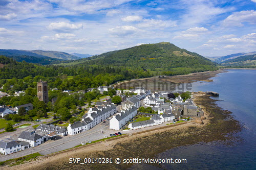 Aerial view of Inveraray town beside Loch Fyne in Argyll and Bute, Scotland, UK Inveraray,Argyll and Bute,Argyll & Bute,aerial view,inveraray scotland,town,loch fyne,community,towns,rural,drone image,daytime,from above,Scotland,Scottish  Uk,United kingdom,Britain,british,scottish culture,scottish heritage,travel,tourism,tourist attraction,destination