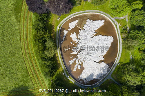 Aerial view of Great Polish Map of Scotland, Eddleston, UK. Scotland,Scottish,Eddleston,Great Polish map of Scotland,aerial view,drone image,daytime,travel,tourism,UK,United Kingdom,map,oudoor,terrain relief model,scottish borders,peebles,looking down,from above,landmark,scale model of scotland