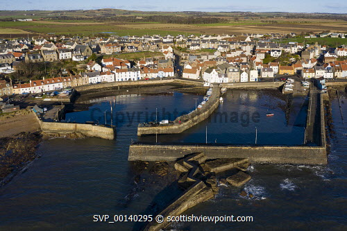 Aerial view from drone of St Monans fishing village in the East Neuk of Fife, Scotland, UK St Monans,Scotland,Scottish,drone image,aerial,from above,fishing village,coast,coastal,UK,united kingdom,travel,tourism,East neuk Fife,Fife,daytime,villages,scottish fishing village,harbour,Firth of Forth,community,Scottish culture,traditional heritage,historical,old,quaint