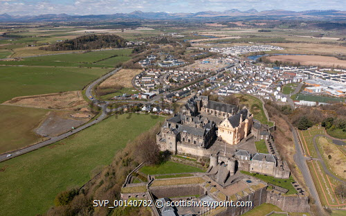 Aerial view from drone of Stirling Castle (closed during Covid-19 lockdown) in Stirling, Scotland, UK Stirling Castle,Stirling Castle Scotland Stirling,Scotland,aerial view,from drone,from above,birds eye view,from the air,high angle viewpoint,daytime,no person,UK,united Kingdom,britain,british,historical monument,famous place,travel,tourism,scottish castle,castles,tourist attraction,destination,scottish culture,scottish history,medieval,landmark,Europe,European