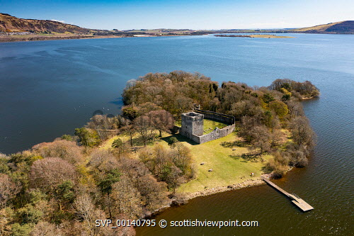 Aerial view from drone of Lochleven Castle ( closed during covid-19 lockdown) on island on Loch Leven, Perth and Kinross, Scotland, UK Lochleven Castle Scotland,Scotland,Lochleven Castle,Loch Leven Scotland,Scottish castle,castles,Perth and kinross,UK,United Kingdom,Britain,British,Europe,European,historical monument,scottish culture,scottish heritage,scottish history,Loch Leven Castle,from the air,from above,looking down,aerial view,from drone,birds eye view,aerial photograph,travel tourism,tourist destination,attraction,day,no person