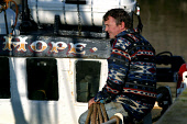 EYEMOUTH, SCOTLAND, UK: Trawler skipper Ian Hunter, aboard his boat Good Hope, ponders the uncertain future for the British fishing fleet as he waits to sail out into the North Sea to fish for cod, ha... Colin McPherson