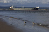 A tanker at Nigg Oil Terminal in the Cromarty Firth viewed from the beach at Cromarty, the Black Isle, Highland. PIC : D BARNES/SCOTTISH VIEWPOINT Tel: +44 (0) 131 622 7174   Fax: +44 (0) 131 622 7175... D BARNES/SCOTTISHVIEWPOINT beach,sand,sandy,sunny,shingle