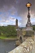 THE RIVER TWEED, TWEED BRIDGE AND OLD PARISH CHURCH IN THE SCOTTISH BORDERS TOWN OF PEEBLES, EARLY MORNING, AUGUST. PIC : RICHARD CLARKSON/SCOTTISH VIEWPOINT  Tel: +44 (0) 131 622 7174  Fax: +44 (0) 1... vertical,water,trees,deciduous,stone,stonework,building,buildings,history,weather,clouds,threatening,light,streetlight,lamp,ornate,decorative,detail
