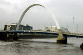 """Glasgow's award winning Squinty Bridge (the Arc) has been closed to pedestrians and traffic after one of the cable supports snapped during the night.... Dubbed the """"Squinty Bridge"""", it cost �20.3m and... GARRY MCHARG/SCOTTISH VIEWPOINT"""