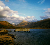 Loch Etive with the mountains Buchaille Etive Mor and Buchaille Etive Beag in the distance; the ruined pier has since collapsed, Highland.   PIC: IAN MACRAE YOUNG/SCOTTISH VIEWPOINT  Tel: +44 (0) 131... I. M. YOUNG/SCOTTISH VIEWPOINT HIGHLANDS,SUNNY,WINTER,SNOW,MOUNTAIN,MOUNTAINS,MUNRO,AUTUMN,WATER