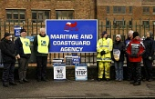 Coastguard staff strike for the first time in thier history over pay and conditions, Staff at MCA base in Greenock, Scotland picketed the entrance of thier workplace..... Pictured........strikers at t... Garry McHarg/SCOTTISH VIEWPOINT dispute,industrial