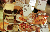"""AN ASSORTMENT OF CAKES AND PASTRIES FOR SALE IN """"GLASS AND THOMSON"""" - A SPECIALISED FOOD SHOP AND DELICATESSEN IN EDINBURGH. PIC: G.DOAK/SCOTTISH VIEWPOINT Tel: +44 (0) 131 622 7174   Fax: +44 (0) 131... BAKING,SHOPPING,RETAIL,INTERIOR,EATING,CAKE"""