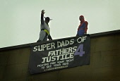 Fathers for Justice hold Protest on top of Labour Party Building  (John Smith House) West Regent Street Glasgow  21 March 05  Pictured   Spiderman and Batman  on top of Building. PICTURE-GARY MCHARG/S... Garry F McHarg  FOCAL Scotland DEMO,DEMONSTRATION
