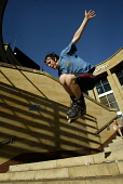 McHARG PHOTO   Rollerblader does a high jump outside the Royal Concer tHall Glasgow Scotland     Please Byline all uses     All monies Payable to   Garry F McHarg   FOCAL (Scotland)  8 Laurelbank Road... Garry F McHarg  FOCAL Scotland