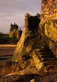 The ruins of Ravenscraig Castle (15C) in Fife sit perched on a hill overlooking the Firth of Forth between Kirkcaldy and Dysart with ancient stone steps climbing a stone tower in the immediate foregro... IAN PATERSON/SCOTTISHVIEWPOINT 15TH CENTURY,HISTORY,HISTORICAL,HERITAGE,GENERIC