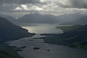 LOOKING TOWARDS LOCH LEVEN (FOREGROUND), THE VILLAGE OF SOUTH BALLACHULISH (LEFT), THE BALLACHULISH BRIDGE AND THEN ON TO LOCH LINNHE AND THE ARDGOUR HILLS BEYOND, FROM SGORR NAM FIANNAIDH (A MUNRO AT... horizontal,mountains,hills,hill,top,tops,peaks,hillwalking,mountaineering,Scottish Highlands,spring,water,grandeur,isolation,inspiring,wild,rugged,scenic,landscape,yacht,yachts,boats,fish farming,clou