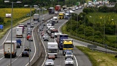 Fuel protestors take to the M8 between Glasgow and Edinburgh on a go-slow to highlight the anger over the rising costs of petrol and diesel in Britain. An estimated 100 HGV's took part in the convoy w... GARRY MCHARG/SCOTTISH VIEWPOINT protest,demonstration,jam,traffic,cars,lorry,lorries