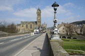 Looking along the bridge over the River Tweed to the Old Parish Church, Peebles, Scottish Borders.  PIC: Robin Brown/SCOTTISH VIEWPOINT  Tel: +44 (0) 131 622 7174  Fax: +44 (0) 131 622 7175  E-Mail :... Robin Brown/SCOTTISH VIEWPOINT religion,building,clock tower,architecture,sunny,spring
