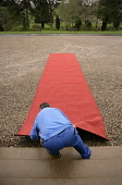 A red carpet is laid in preparation of a parade by the Atholl Highlanders at Blair Castle, Blair Atholl, Perthshire. The Atholl Highlanders are Europe�s only remaining private army which has its headq... PUBLIC, NMR SUMMER,ENTRANCE