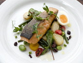 A SERVING OF SALMON WITH A NEW POTATO SALAD. PIC: DOUGLAS JONES/SCOTTISH VIEWPOINT  Tel: +44 (0) 131 622 7174  Fax: +44 (0) 131 622 7175  E-Mail: info@scottishviewpoint.com  Web: www.scottishviewpoint... DOUGLAS JONES/SCOTTISH VIEWPOINT FOOD,EATING,RESTAURANT,DINING,PLATE,FISH
