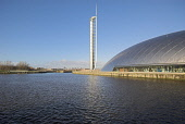 Tower and  Glasgow Science Centre Govan Glasgow PIC D G FARQUHAR /SCOTTISH VIEWPOINT Tel: +44 (0) 131 622 7174   Fax: +44 (0) 131 622 7175 E-Mail : info@scottishviewpoint.com This photograph can not b... Public, NMR Building,Buildings,Exhibition,Exhibitions,Glasgow,Govan,Museum,Museums,Scotland,Tourism,Tourist attraction,Towers,Glasgow Science Centre,Tower