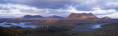 Suilven (731m) on the left, Canisp (847m) in the middle and Cul Mor (849m) on right, catching the last rays of evening sunlight.  The mountains' summits are Cambrian Quartzite which, as it is tougher... Public, NMR afternoon,assynt,autumn,cloud,clouds,coigach,erosion,glen,highlands,hills,inselburg,lake,loch,mountain,mountains,panorama,pink,rock,rocks,sandstone,scotland,sedimentary,stone,stormy,sunset,valley,wate