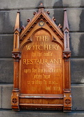 THE WITCHERY, EDINBURGH. A DETAIL OF THE SIGN FOR THE WITCHERY RESTAURANT ON CASTLE HILL AT THE TOP OF THE ROYAL MILE, IN THE CITY CENTRE OF EDINBURGH. PIC: GARRY MCHARG/SCOTTISH VIEWPOINT Tel: +44 (0... Public, NMR edinburgh,scotland,scottish,eat,eatery,restaurant,signage,hotel,old town,accommodation,eating,food