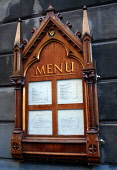The menu for The Witchery restaurant and hotel. PIC:GARRY MCHARG/SCOTTISH VIEWPOINT  Tel: +44 (0) 131 622 7174  Fax: +44 (0) 131 622 7175  E-Mail : info@scottishviewpoint.com  This photograph can not... Public, NMR accommodation,eat,eatery,eating,edinburgh,food,hotel,old town,scotland,scottish,sign,signage,view,viewing.