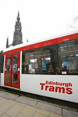 Inside a tram on Princes Street in Edinburgh in preparation for the introduction of trams to the city. 27 Mar 2009. Pic: Tina Norris / Scottish Viewpoint Tel: +44 (0) 131 622 7174 Fax: +44 (0) 131 622... Public SPRING,TRAFFIC,DEVELOPMENT,TRANSPORT,PROJECT,TRAMWORKS,ROADWORKS,CLOSURE
