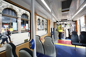 Inside a tram on Princes Street in Edinburgh in preparation for the introduction of trams to the city. 27 Mar 2009. Pic: Tina Norris / Scottish Viewpoint Tel: +44 (0) 131 622 7174 Fax: +44 (0) 131 622... Public SPRING,TRAFFIC,DEVELOPMENT,TRANSPORT,PROJECT,TRAMWORKS,ROADWORKS,CLOSURE,JENNERS