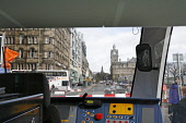 The view from inside a tram on Princes Street in Edinburgh in preparation for the introduction of trams to the city. 27 Mar 2009. Pic: Tina Norris / Scottish Viewpoint Tel: +44 (0) 131 622 7174 Fax: +... Public SPRING,TRAFFIC,DEVELOPMENT,TRANSPORT,PROJECT,TRAMWORKS,ROADWORKS,CLOSURE