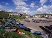 COLLIESTON ABERDEENSHIRE Fishing village sandy beach boats beached with stacked crab lobster creels  Pic: Doug Houghton / Scottish Viewpoint Tel: +44 (0) 131 622 7174 Fax: +44 (0) 131 622 7175 E-Mail:... Public aberdeenshire,collieston,harbour,lobster,pots,boat,scotland,scottish,harbor,port,haven,quayside,quay,side,water,front,tourism,holiday,vacation,community,coastal,sea,fishery,beaches,traditional,crab,fi