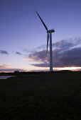 Windmill ELECTRICITY ENERGY Vesa small wind turbine Northfield Burray Orkney and sunset  Pic: Doug Houghton / Scottish Viewpoint Tel: +44 (0) 131 622 7174 Fax: +44 (0) 131 622 7175 E-Mail: info@scotti... Public electricity,alternative,energy,windtower,scotland,scottish,windturbine,turbine,rotating,propeller,triple,blade,blades,vane,vanes,windfarm,turbines,windturbines,propellers,towers,windtowers,windmill,wi