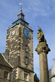 STIRLING STIRLINGSHIRE Unicorn statue Mercat cross and old Tolbooth clock tower  Pic: Doug Houghton / Scottish Viewpoint Tel: +44 (0) 131 622 7174 Fax: +44 (0) 131 622 7175 E-Mail: info@scottishviewpo... Public stirlingshire,stirling,scotland,scottish,tollbooth,toll,booth,town,house,council,offices,architecture,clock,tower,spire,stone,building,time,timekeeping,timepiece,piece,structure,history,historic,histo