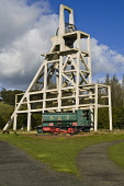 Old mine shaft pithead and colliery stream train Lochore Meadows Country Park BALLINGRY FIFE  Pic: Doug Houghton / Scottish Viewpoint Tel: +44 (0) 131 622 7174 Fax: +44 (0) 131 622 7175 E-Mail: info@s... Public fife,ballingry,lochore,meadows,country,park,coal,mine,coalmine,minehead,head,colliery,pit,coalfield,coalmining,industry,mining,heavy,industrial,shaft,scotland,scottish,railway,train,engine,locomotive,