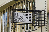 The Willow tearooms sign Charles Rennie Mackintosh design  SAUCHIEHALL STREET GLASGOW  Pic: Doug Houghton / Scottish Viewpoint Tel: +44 (0) 131 622 7174 Fax: +44 (0) 131 622 7175 E-Mail: info@scottish... Public glasgow,sauchiehall,street,willow,tearooms,sign,city,scotland,scottish,charles,rennie,mackintosh,design,building,exterior,outdoor,outside,external,architectural,architecture,built,cafe,coffee,shop,tea