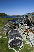 fishing equipment,bunessan bay,isle of mull,scotland  Pic: M. Hicken / Scottish Viewpoint Tel: +44 (0) 131 622 7174 Fax: +44 (0) 131 622 7175 E-Mail: info@scottish viewpoint.com Web: www.scottishviewp... Public isle of mull,scotland,scottish,bunessan,ross of mull,fishing,equipment,lobster,creels,ropes,chains,pots,baskets