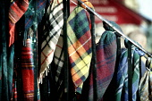 A DETAIL OF TARTAN SCARVES FOR SALE IN A GIFT SHOP ON CASTLEHILL / THE HIGH STREET , EDINBURGH. PIC: P.DODDS /SCOTTISH VIEWPOINT Tel: +44 (0) 131 622 7174   Fax: +44 (0) 131 622 7175 E-Mail : info@sco... Public, NMR OLD TOWN,SHOPPING,SCOTLAND,RETAIL