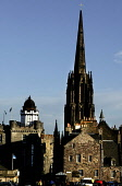 LOOKING OVER TO THE CAMERA OBSCURA AND THE SPIRE OF TOLBOOTH OF ST. JOHN (THE HUB) FROM THE CASTLE ESPLANADE, EDINBURGH. PIC: P.DODDS /SCOTTISH VIEWPOINT Tel: +44 (0) 131 622 7174   Fax: +44 (0) 131 6... Public, NMR ARCHITECTURE,THE HUB,SUNNY,SCOTLAND,BUILDING