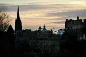 LOOKING OVER TO THE OLD TOWN FROM CALTON HILL AT DUSK, EDINBURGH. PIC: P.DODDS /SCOTTISH VIEWPOINT Tel: +44 (0) 131 622 7174   Fax: +44 (0) 131 622 7175 E-Mail : info@scottishviewpoint.com This photog... Public, NMR ATMOSPHERIC,TOLBOOTH OF ST. JOHN,THE HUB,SPIRES,SPIRE,SILHOUETTE,SCOTLAND,EDINBURGH CASTLE,BANK OF SCOTLAND HEADQUARTERS,AUTUMN
