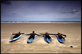SURF'S UP.......SAM CHRISTOPHENSON (LEFT) TEACHES HIS SURF SCHOOL PUPILS ON BELLHAVEN BEACH   PIC: Paul Dodds / Scottish Viewpoint TEL: +44 (0) 131 622 7174 FAX: +44 (0) 131 622 7175 E-MAIL: info@scot... Public, NMR SPORT,WATER
