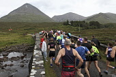 Start of the Glamaig Hill Race, Sligachan, Isle of Skye.  Pic: Marcus McAdam / Scottish Viewpoint Tel: 0044 (0) 131 622 7174 Fax:0044 (0) 131 622 7175 E-Mail: info@scottishviewpoint.com Web: www.scott... Public, NMR Annual,Athletes,Athletics,Competitors,Cuillins,Glamaig,Highlands,Hill Race,Isle of Skye,Mountain,Red Cuillins,Runners,Running,Sligachan,Start,Tradition,Traditional