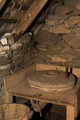 Shetland croft house museum SOUTHVOE SHETLAND Traditional hand Quernstone cereal grinder  Pic: Doug Houghton / Scottish Viewpoint Tel: 0044 (0) 131 622 7174 Fax: 0044 (0) 131 622 7175 E-Mail: info@sco... Public, NMR southvoe,shetland,croft,house,museum,quernstone,scotland,scottish,quern,stone,farming,mill,milling,drying,crops,agricultural,agriculture,indoors,interior,tourist,attraction,arable,grain,tourism,cultiv