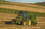 HAVESTING FARMING John Deere tractor baler baling field harvesting hay bales  Pic: Doug Houghton / Scottish Viewpoint Tel: 0044 (0) 131 622 7174 Fax: 0044 (0) 131 622 7175 E-Mail: info@scottishviewpoi... Public, NMR john,deere,tractor,baler,baling,field,agriculture,harvesting,hay,bales,farming,machine,haymaking,bale,harvest,making,haymaker,harvests,maker,agricultural,balers,haymakers,makers,farm,machinery,fields,