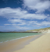 Peace, tranquility and solitude on the Atlantic coast of the Isle of Harris in midsummer at Scarista. The white sands are made of the crushed shells of molluscs over millions of years and the island o... Public ISLAND,BEACH,SUMMER,DESERTED,COAST,COASTAL,remote,blue,sea,sand