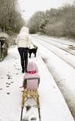 A mother pulls her daughter on sledge down a country road at Crowwood near Glasgow Pic: Garry F McHarg / Scottish Viewpoint Tel: +44 (0) 131 622 7174 Fax: +44 (0) 131 622 7176 E-Mail: info@scottishvie... Public, MR winter,weather,bad,travel,road,roads,snow,fun,sledge,play
