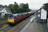 brush type 5,class 57,57 601,kingussie,highlands,scotland  Picture credit: Mark Hicken / Scottish Viewpoint Tel: +44 (0) 131 622 7174 Fax: +44 (0) 131 622 7175 E-Mail: info@scottishviewpoint.com Web:... Public srps,railtour,maroon,brush type 5,class 57,57601,support,kingussie,signal box,highlands,scotland,diesel,train,travel,trains
