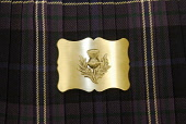 A belt buckle. Picture Credit: Chris Robson / Scottish Viewpoint Tel: +44 (0) 131 622 7174 Fax: +44 (0) 131 622 7175 E-Mail: info@scottishviewpoint.com Web: www.scottishviewpoint.com This picture cann... Public interior,tartan,kilt,bowdens,silver,clothing,clothes
