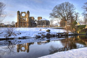 Winter snow on the ruins of Elgin Cathedral, Moray.  Picture Credit: Ross Graham / Scottish Viewpoint Tel: +44 (0) 131 622 7174 Fax: +44 (0) 131 622 7175 E-Mail: info@scottishviewpoint.com Web: www.sc... Public sunny,water,reflection,religion,ruin,attraction,atmospheric,historic scotland