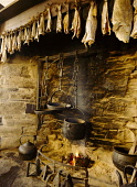 Farm museum CORRIGALL ORKNEY Farmhouse fireplace kettle pots and dried fish  Picture Credit: Doug Houghton / Scottish Viewpoint Tel: +44 (0) 131 622 7174   Fax: +44 (0) 131 622 7175 E-Mail : info@scot... Public fireplace,kettle,pots,dried,fish,hearth,open,fire,scotland,scottish,farming,history,farm,house,drying,food,produce,preserve,homestead,dwelling,place,abode,inside,traditional,rural,agricultural,agricul