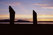 Stenness Standing Stones STENNESS ORKNEY Neolithic standing stones at sunset Stenness Loch  Picture Credit: Doug Houghton / Scottish Viewpoint Tel: +44 (0) 131 622 7174   Fax: +44 (0) 131 622 7175 E-M... Public orkney,stenness,standing,stones,twilight,day,end,scotland,scottish,lake,water,sealoch,warm,golden,colour,colors,sky,sun,set,sunsetting,down,sundown,nightfall,eventide,half,evening,dusk,stone,megalith,