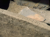 SKARA BRAE ORKNEY Neolithic village settlement prehistoric house inscription on box bed  Picture Credit: Doug Houghton / Scottish Viewpoint Tel: +44 (0) 131 622 7174   Fax: +44 (0) 131 622 7175 E-Mail... Public orkney,skara,brae,prehistoric,writing,letters,word,scotland,scottish,megalithic,bronze,age,small,community,masonry,stonework,stone,work,traditional,inhabit,excavate,character,language,text,letter,lett